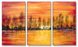 Deer at Sunset Triptych Art Wood Sign