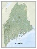 National Geographic - Maine Map Laminated Poster Prints by National Geographic