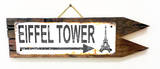 Eiffel Tower Rusted Wood Sign