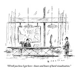 """I'll tell you how I got here—hours and hours of hard visualization."" - New Yorker Cartoon Premium Giclee Print by Barbara Smaller"