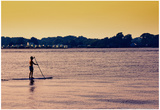 Surfer Paddling Shelter Island NY Color Photo