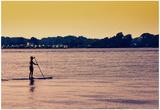 Surfer Paddling Shelter Island NY Color Photo
