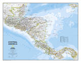 National Geographic - Central America Classic Map Laminated Poster Posters af National Geographic