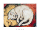 Cat On A Yellow Pillow Poster by Franz Marc