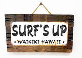 Surf's Up Waikiki Rusted Wood Sign