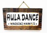 Hula Waikiki Rusted Wood Sign