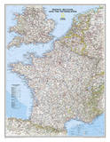 National Geographic - France, Belgium, and The Netherlands Classic Map Laminated Poster Affischer av Geographic, National