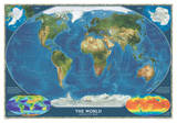 National Geographic - World Satellite Map Laminated Poster Affiche par National Geographic