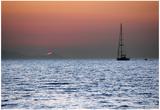Sunset Sailboat Aegean Sea Santorini Greece Poster