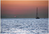 Sunset Sailboat Aegean Sea Santorini Greece Poster