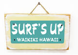 Surf's Up Waikiki Teal Wood Sign