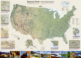 National Geographic - United States National Parks Map Laminated Poster Photo by National Geographic