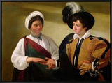 The Fortune Teller, circa 1596-97 Framed Canvas Print by Caravaggio