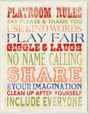 Playroom Rules Typography Wood Sign