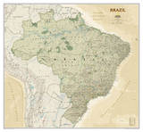 National Geographic - Brazil Executive Map Laminated Poster Print by National Geographic