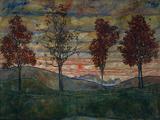 Fyra träd, 1917 Posters av Egon Schiele