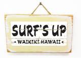 Surf&#39;s Up Waikiki Vintage Wood Sign