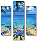 Palm Tree Shadows Triptych Art Wood Sign