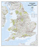 National Geographic - England & Wales Map Poster Posters af National Geographic