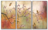 Pink Blossoms and Butterflies Triptych Art Wood Sign