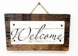 Welcome Vintage Wood Sign