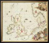 Map of the North Sea, c.1675 Estampe encadrée par Frederick de Wit