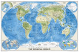 National Geographic - The Physical World, Poster Size Map Laminated Poster Plakater av Geographic, National