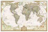 National Geographic - World Executive Map, Enlarged & Laminated Poster Photographie par National Geographic