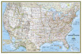 National Geographic - United States Classic, poster size Map Laminated Poster Prints by National Geographic