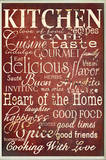 Red Kitchen Words Typography Rectangle Placa de madeira