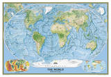 National Geographic - World Physical Map, Enlarged & Laminated Poster Plakater av Geographic, National