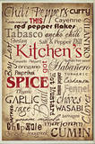 Kitchen and Spice Words Typography Rectangle Wood Sign