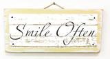 Smile Often Vintage Wood Sign