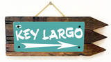 Key Largo Teal Wood Sign