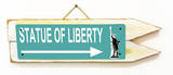 Statue of Liberty Teal Wood Sign