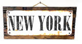 New York Rusted Wood Sign