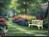 Garden Bench Stretched Canvas Print by Egidio Antonaccio