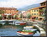 Over There Cafe Stretched Canvas Print by Sung Kim
