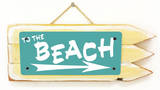 To The Beach Teal Wood Sign