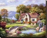 Stone Bridge Cottage Stretched Canvas Print by Sung Kim