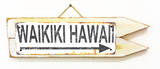 Waikiki Hawaii Arrow Rusted Wood Sign