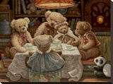 Teddy Bear Tea Party Stretched Canvas Print by Janet Kruskamp