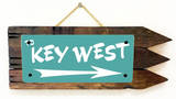 Key West Teal Wood Sign