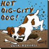 Hot Dig-Gity Dog Stretched Canvas Print by Janet Kruskamp
