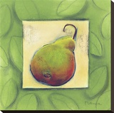 Yellow Pear Blushing Stretched Canvas Print by Dona Turner