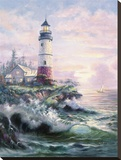 Lighthouse Cove Stretched Canvas Print by Carl Valente