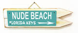Nude Beach Florida Keys Teal Wood Sign