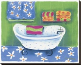 White Tub With Blue Polka Dots Stretched Canvas Print by Dona Turner