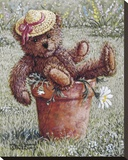 Bear With A Hat Leinwand von Janet Kruskamp