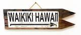 Waikiki Hawaii Arrow Vintage Wood Sign